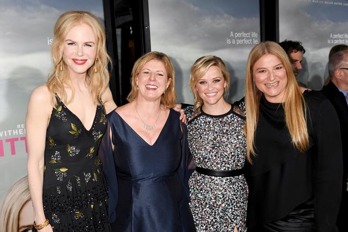 Nicole Kidman, author Liane Moriarty, actress Reese Witherspoon, and executive producer of *Big Little Lies*, Bruna Papandrea.