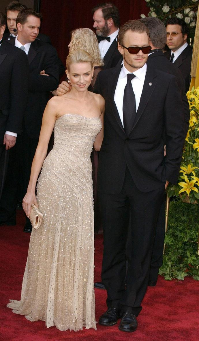 Naomi Watts and Heath Ledger at the Oscars in 2004.
