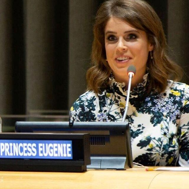 "Eugenie is known for her proactivity in charity work, and what better way to spread her message than by sharing it with her 300,000+ Instagram followers?  <br><br> Sharing a pic of her speaking at the United Nations, Eugenie wrote: ""It was such an honour to speak @nexusglobalnetwork at the @unitednations about @the_anti_slavery_collective. An initiative I co-founded last year to combat modern day slavery.""  <br><br> She continued with a poignant quote: ""You may choose to look the other way but you can never say again that you did not know"" - William Wilberforce"". *Image: Instagram/[@princesseugenie](https://www.instagram.com/princesseugenie/