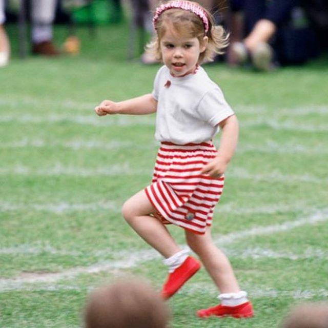 "It's a universal understanding that people in Britain love to talk about the weather, and Eugenie is no different. Sharing this adorable pic of her as a tiny tot, she wrote: ""Running into this amazing weather..."" *Image: Instagram/[@princesseugenie](https://www.instagram.com/princesseugenie/