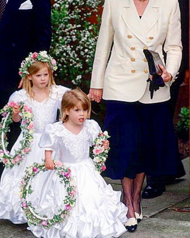 "When it comes to [wedding planning](https://www.nowtolove.com.au/royals/british-royal-family/princess-eugenie-wedding-dress-designer-50996|target=""_blank""), it looks like Eugenie is taking direct inspiration from her past experiences. Sharing this adorable pic to Instagram, the Princess wrote: ""90s throwback...wedding planning starts!!"" *Image: Instagram/[@princesseugenie](https://www.instagram.com/princesseugenie/
