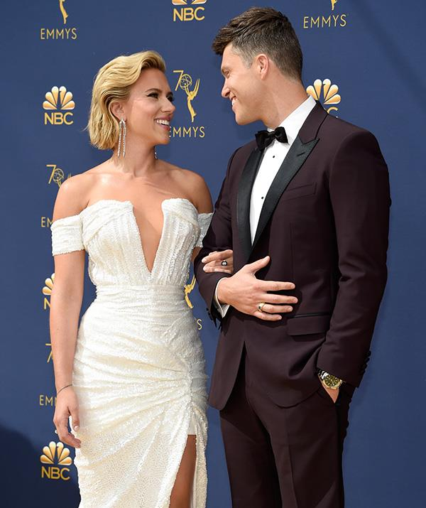 Scarlett Johannson and Colin Jost look excited for the night to come!