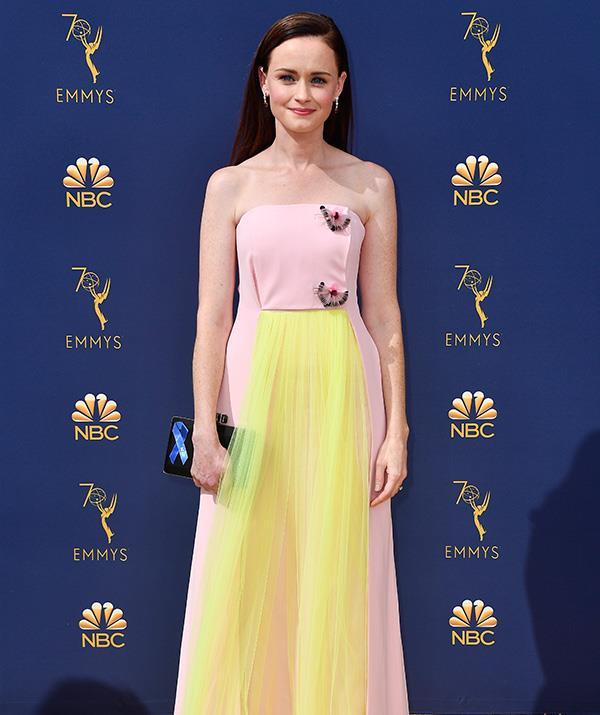 Alexis Bledel from *The Handmaid's Tale* looks elegant in pastel.