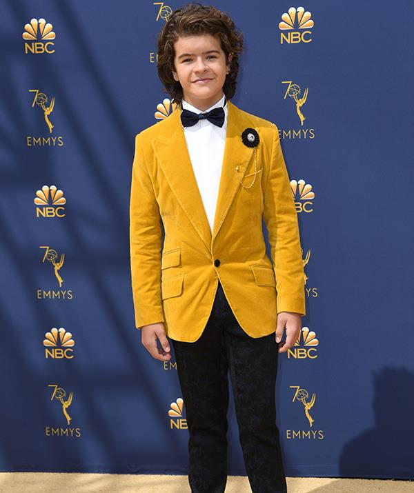 *Stranger Things* star Gaten Matarazzo, 16, makes a statement in mustard.