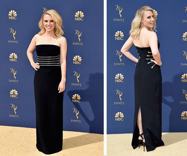 *Saturday Night Live* regular Kate McKinnon looks glam in black.