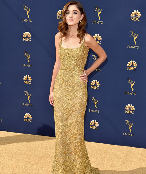 Natalia Dyer of *Stranger Things* looks incredible in gold.