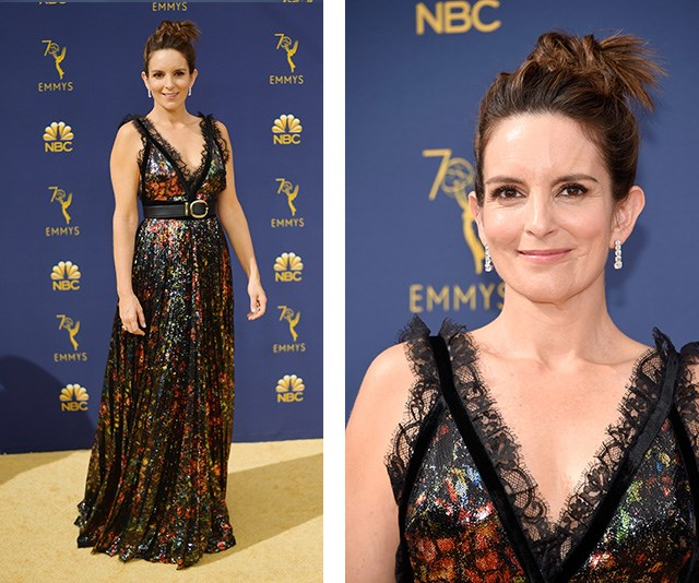 Mum-of-two Tina Fey looks amazing in a multi coloured dress.