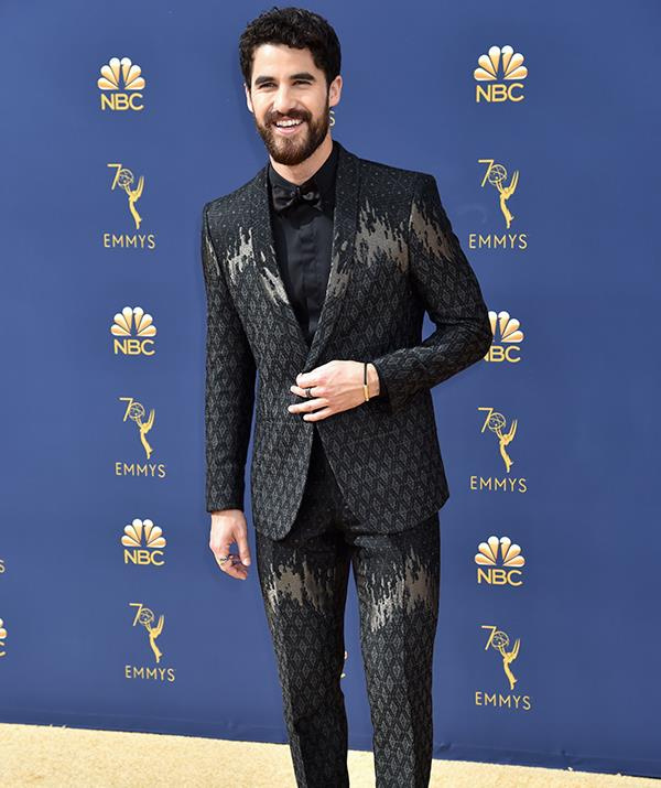 Darren Criss isn't one to hold back when it comes to fashion. This printed suit is certainly eye-catching.