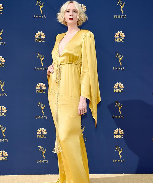 English model Gwendoline Christie is a far cry from her usual look on *Game of Thrones*.