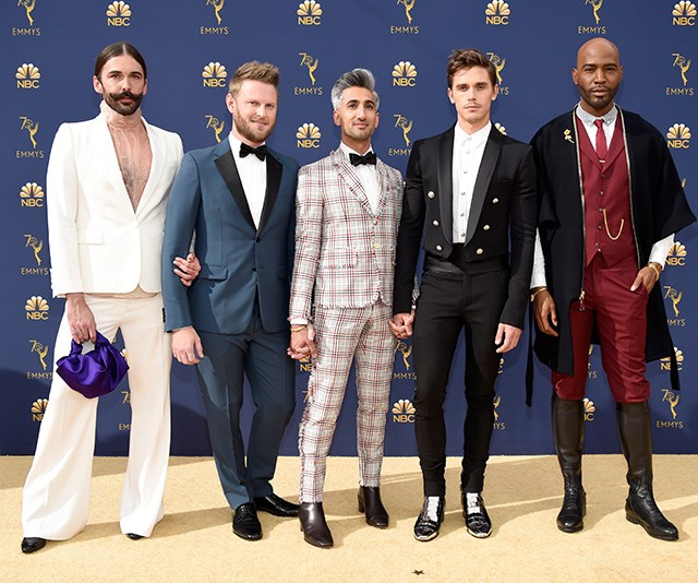 They''re every bit as fabulous as their name suggests. The Fab 5 of Netflix's *Queer Eye* slay the red carpet!