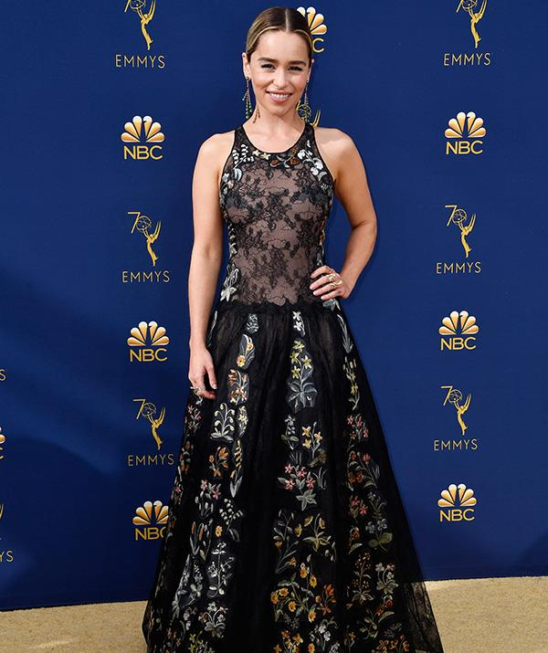 The Emmys must be old hat by now for *Game of Thrones* actress Emilia Clarke. The three-time nominee  looks elegant in this floral number.