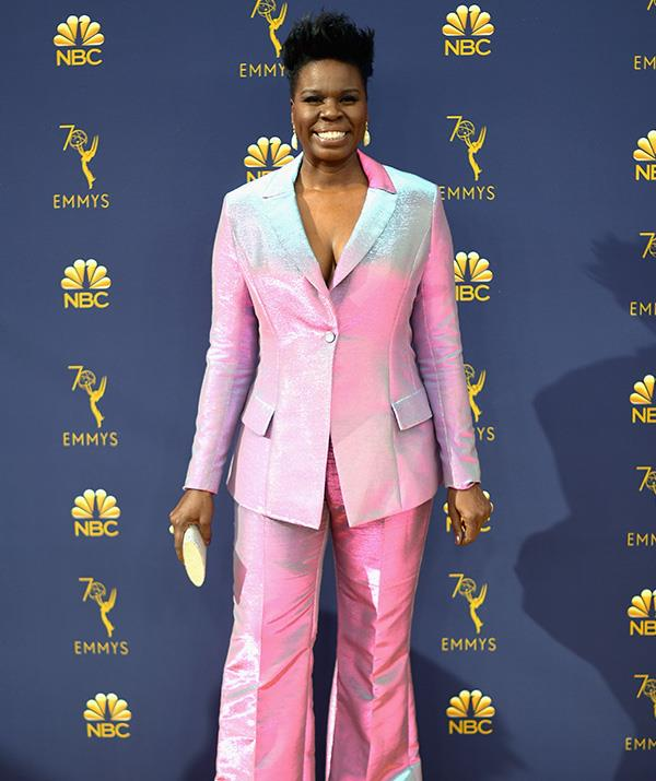 Comedian Leslie Jones is radiating pinks and soft-blues in this shiny get-up.