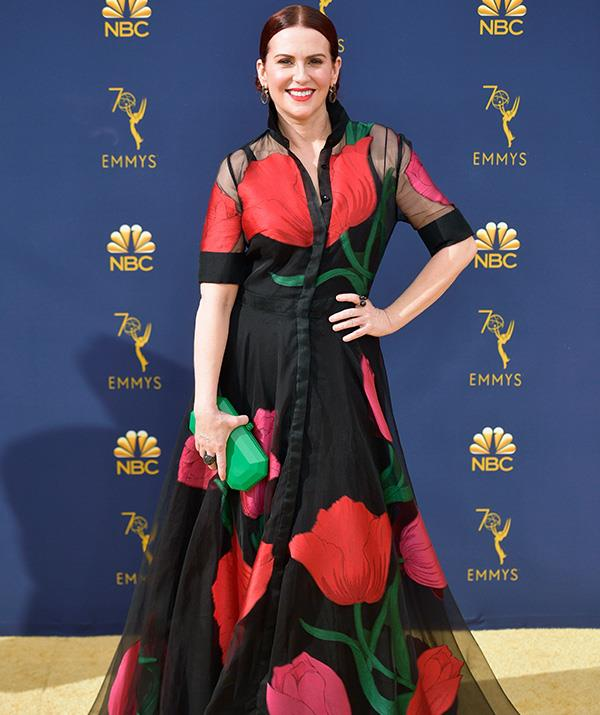 *Will and Grace's* Megan Mullally makes heads turn on the red carpet in this bold get-up.