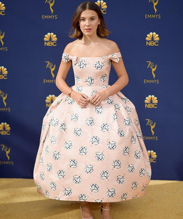 14-year-old Millie Bobby Brown is fast making a name for herself as a style icon, and this gorgeous pastel printed dress is right up there in the style stakes.