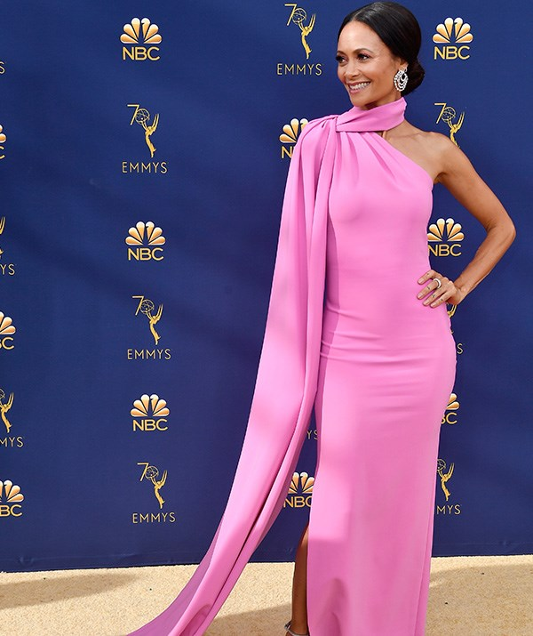 English actress Thandie Newton is a sure contender for best dressed! We're enamoured by this gorgeous pink gown.