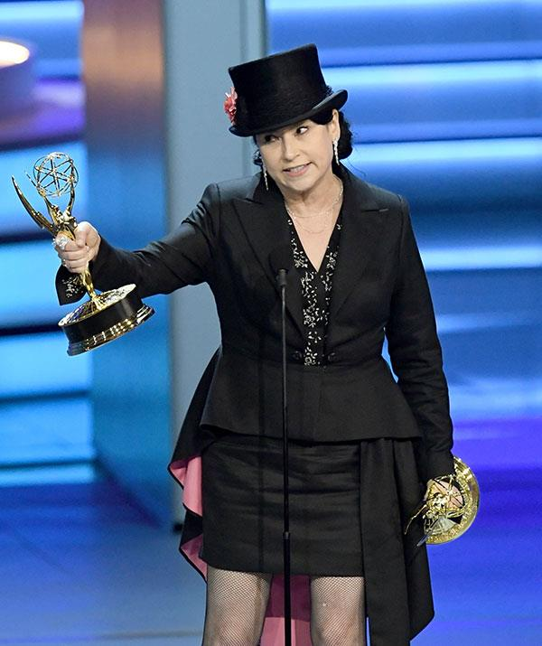 She's got the write kind of stuff! Amy Sherman Palladino wins Outstanding Writing for a Comedy Series for Amazon's *The Marvelous Mrs. Maisel*.