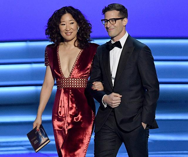 Sandra Oh and Andy Samberg take to the stage to present.