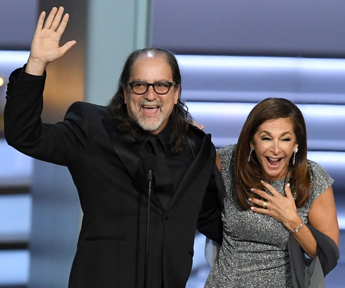 Glenn Weiss and his now-fiancee, after proposing to her on the Emmy's stage.