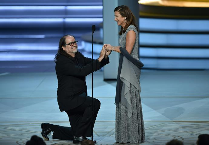 In what we could safely call the sweetest moment of the night, director Glen Weiss proposed to his girlfriend Jan from the stage right after receiving the Outstanding Directing for a Variety Special award for *The Oscars*.