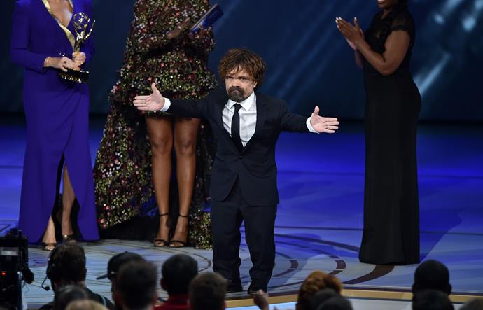 Peter Dinklage looked absolutely thrilled after winning Supporting actor in a Drama Series for his work on *Game of Thrones*.