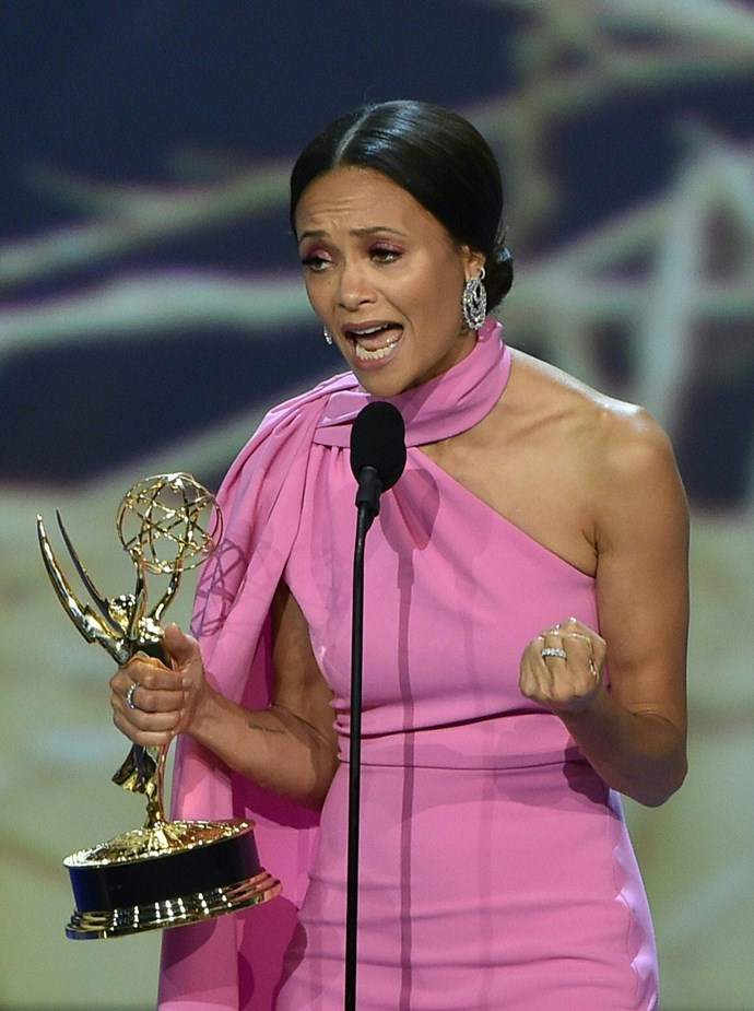 We're not sure what we love more: Thandie Newton winning Outstanding Supporting Actress in a Drama Series for *Westworld*, or her incredible dress.