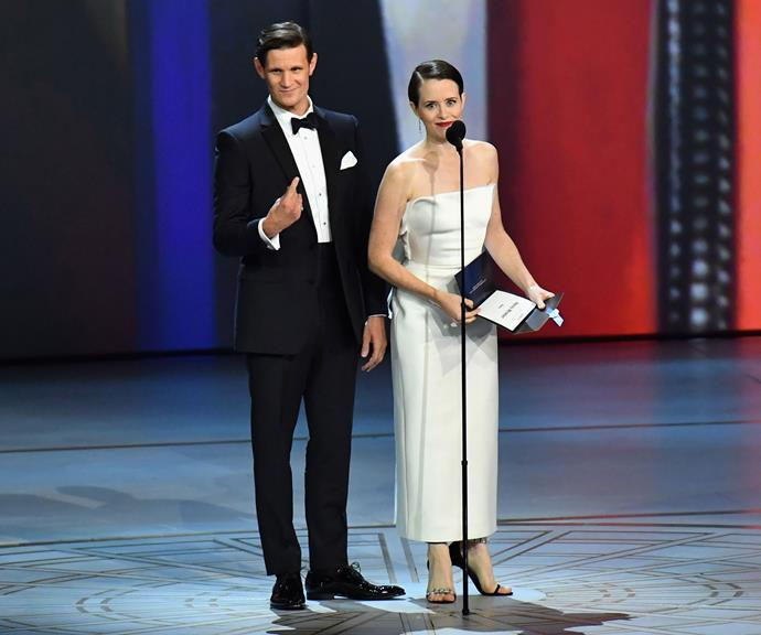 Claire presenting with her on-screen husband, Matt Smith at the 2018 Emmy Awards.