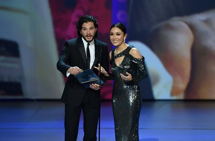 *Game of Thrones'* Kit Harington and *Crazy Rich Asians'* Constance Wu present onstage - can these two just get their own show together already!?