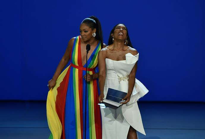 Tiffany Haddish and Angela Bassett have an absolute ball onstage.