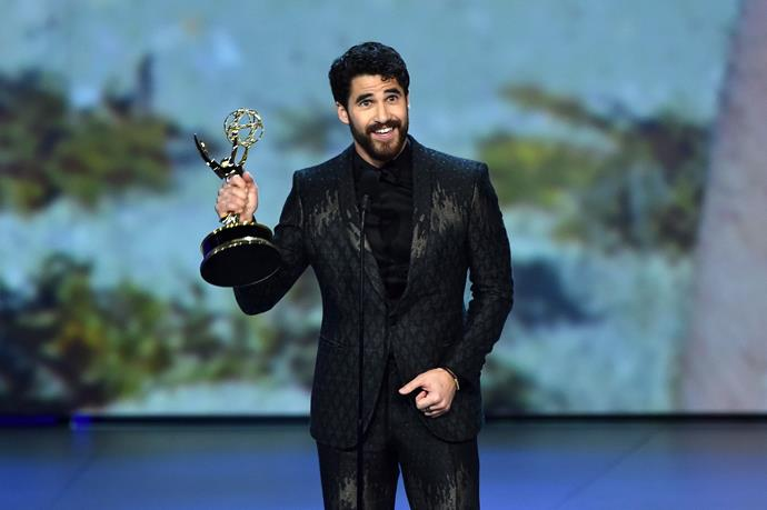 Darren Criss looks sufficiently chuffed to win Lead Actor in a Limited Series.