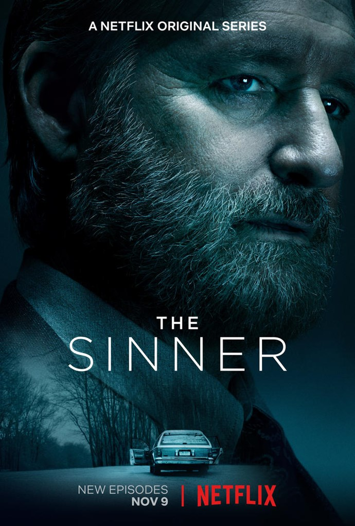 New key-art for *The Sinner's* second season shows an eerie abandoned car in a forest, and an ominous looking Detective Harry Ambrose.