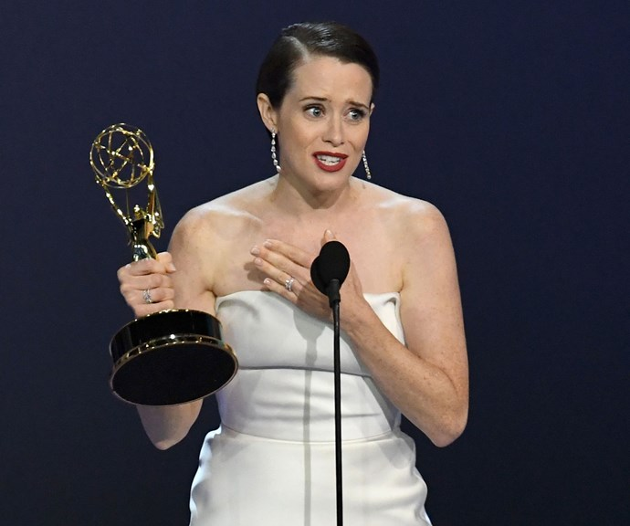 Claire Foy accepts her award for 'Outstanding Actress in a Drama Series'.