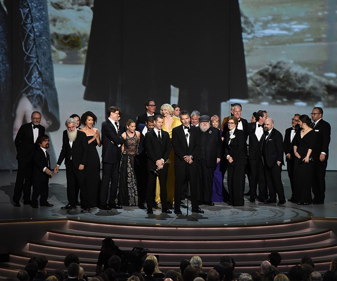 The team behind *Game of Thrones* collect their Emmy for Outstanding Drama Series.