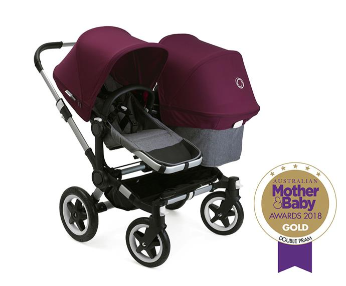 """[Bugaboo Donkey2 duo,](https://www.bugaboo.com/AU/en_AU/strollers/bugaboo-donkey2 target=""""_blank"""" rel=""""nofollow"""") from $2,474, can be set-up as a side-by-side double pram or a single with side luggage basket. It's easy to manoeuvre and with big foam-filled tyres, glides over rough terrain."""