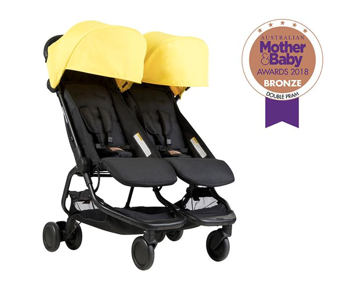 """[Mountain Buggy Nano Duo,](https://mountainbuggy.com/au/Buy/prams/nano-duo-pram target=""""_blank"""" rel=""""nofollow"""") from $699, is a lightweight side-by-side pram. With a compact fold, extra roomy seats with full lie flat option, the pram also features a large storage basket."""