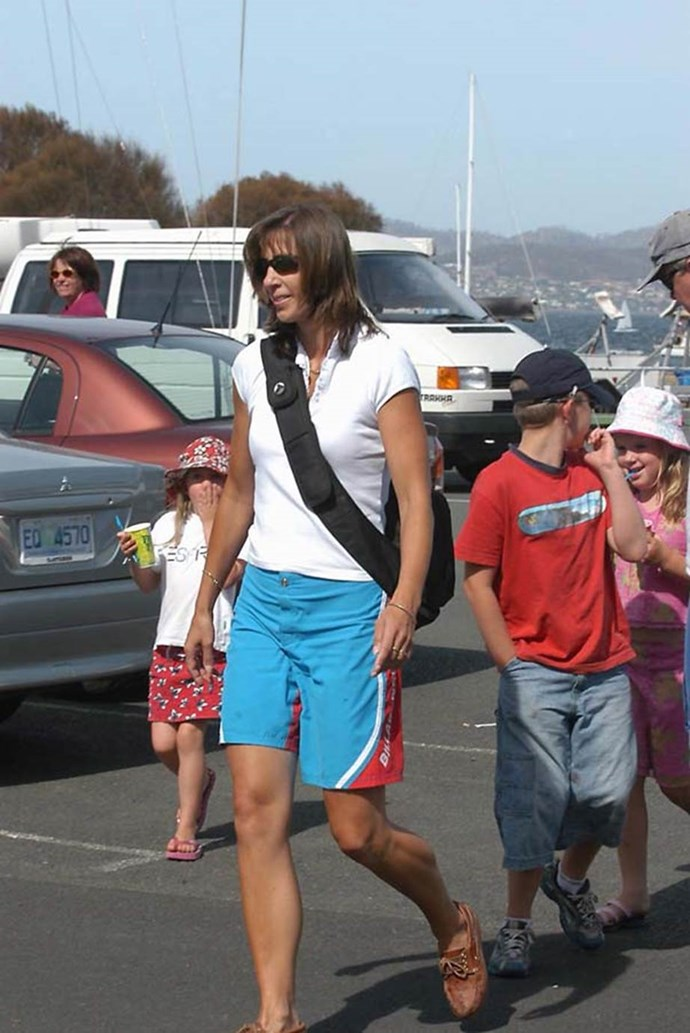 **January 2003, Hobart** <br><br> Mary rocks the board shorts and boaters like only a true princess-to-be can.