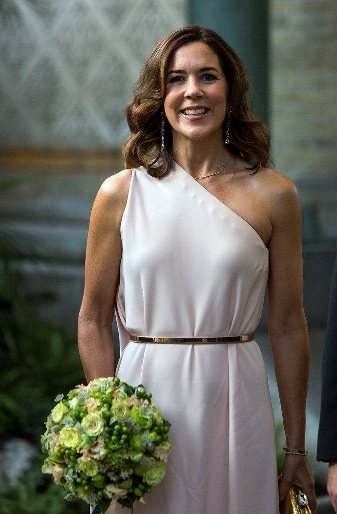 **September 2017, Copenhagen** <br><br> This soft one-shoulder style looks stunning on the Princess.