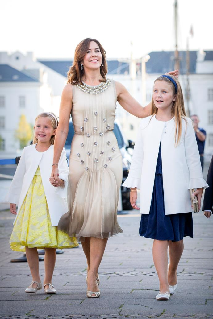 **August 2017, Copenhagen** <br><br> Pictured walking with her two daughters, the Princess looks radiant.