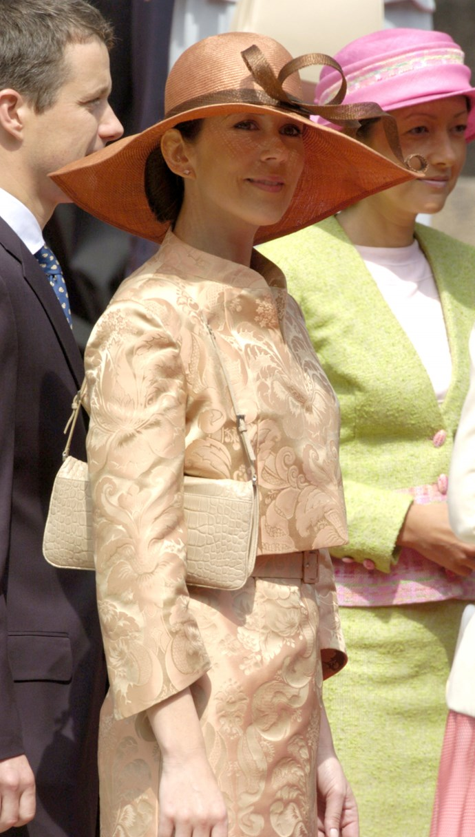 **May 2004, Christiansborg** <br><br> We've noticed Mary is partial to an all-beige palette, but this time it took a slightly warmer turn into orange territory.