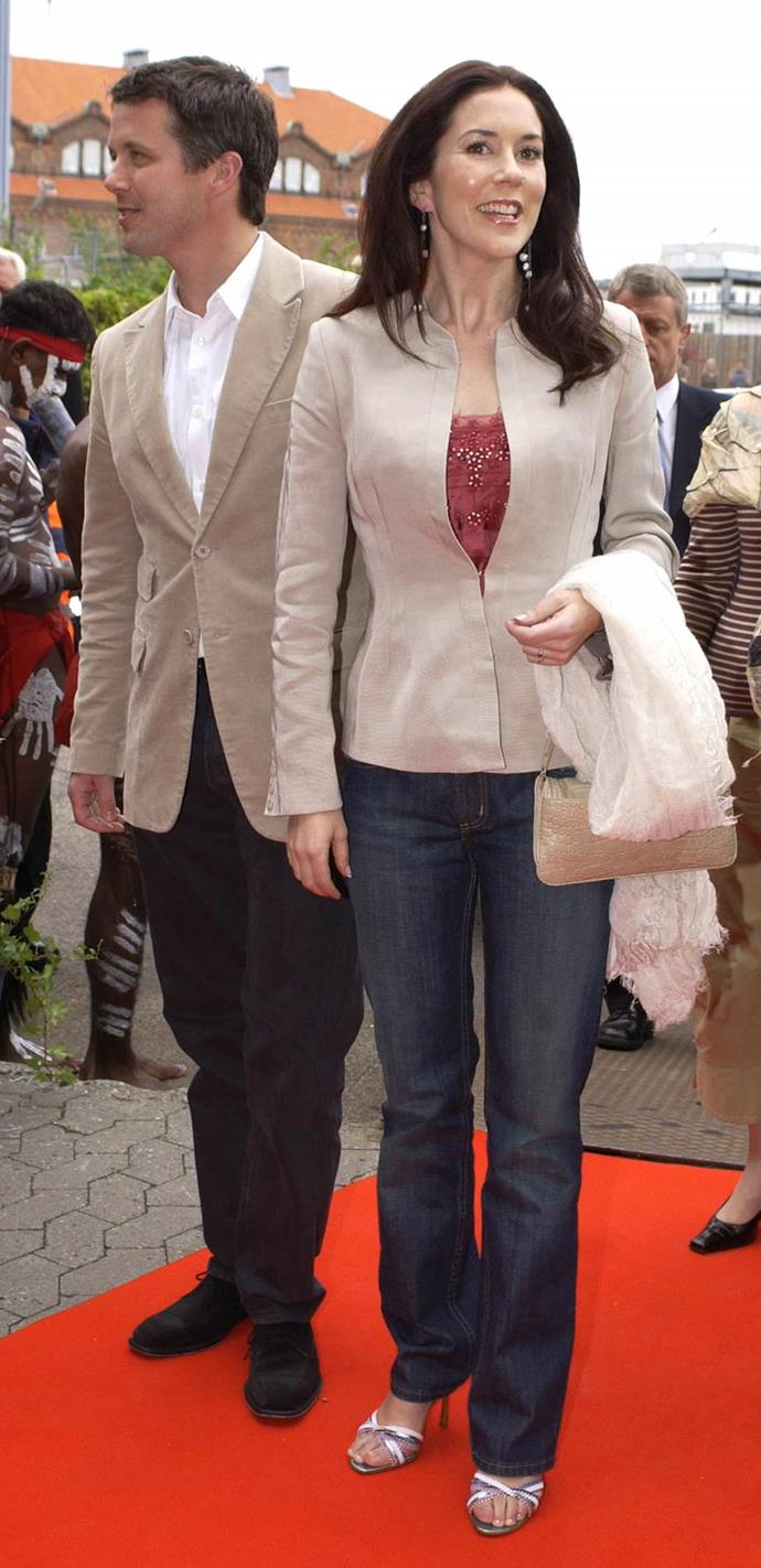 **May 2004, Copenhagen** <br><br> The year was 2004 and Mary was bang on trend with this blazer, jeans and stiletto combo.
