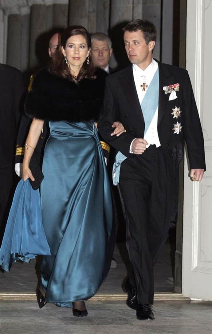 **January 2004, Copenhagen** <br><br> Another day, another satin gown for the soon-to-be Princess!