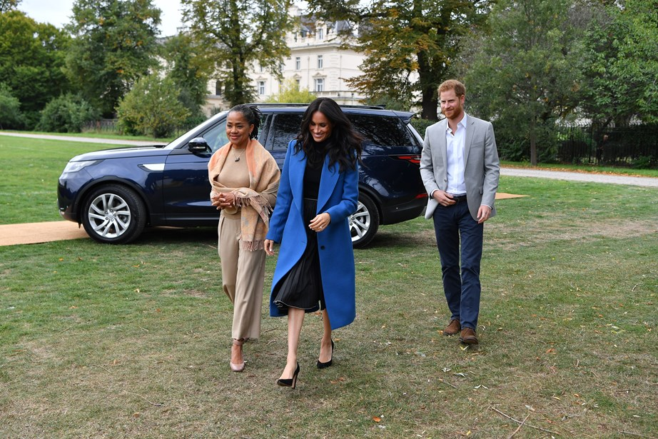 Duchess Meghan and her mum Doria Ragland arrive at the cookbook launch with Prince Harry.