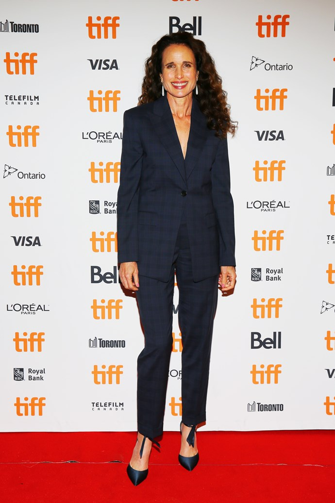 **Andie MacDowell, 60** <br><br> The *Four Weddings and a Funeral* actress can pull off a pantsuit like no other.