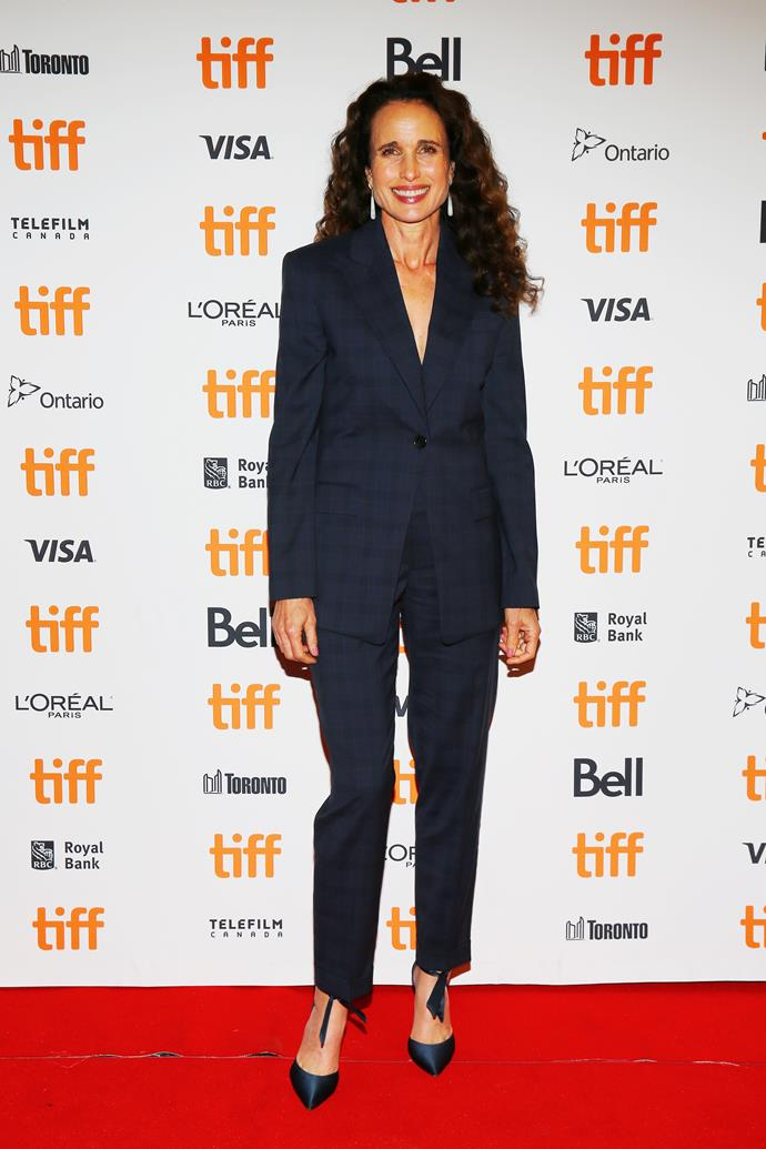 **Andie MacDowell, 61** <br><br> The *Four Weddings and a Funeral* actress can pull off a pantsuit like no other.