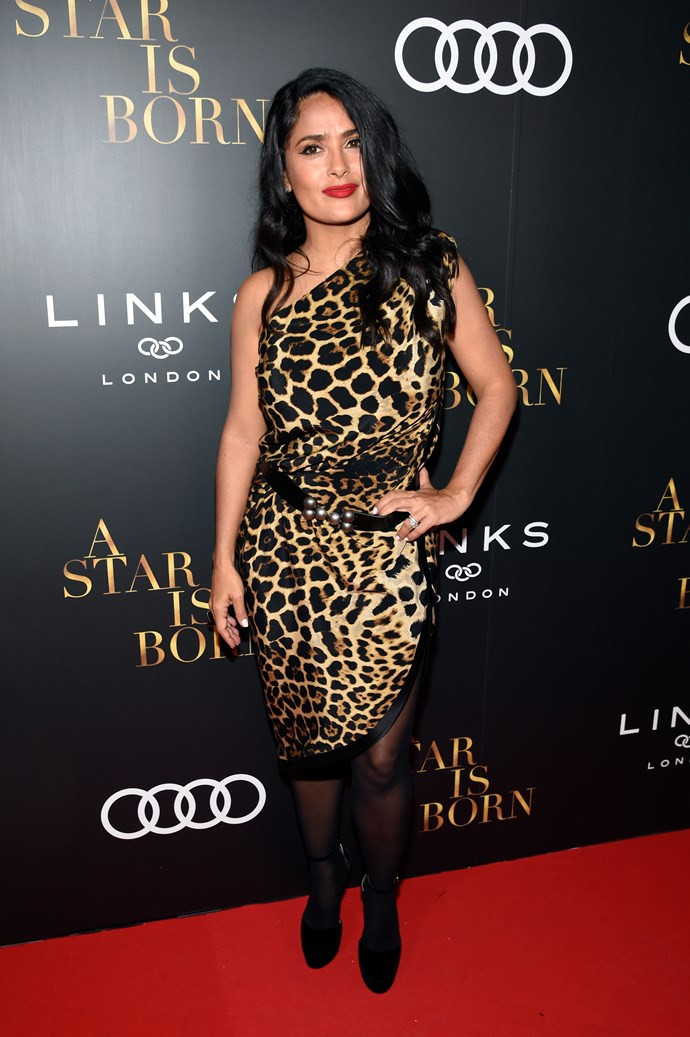 **Salma Hayek, 52** <br><br> At 25 she was rocking it. At 52? Still rocking it.