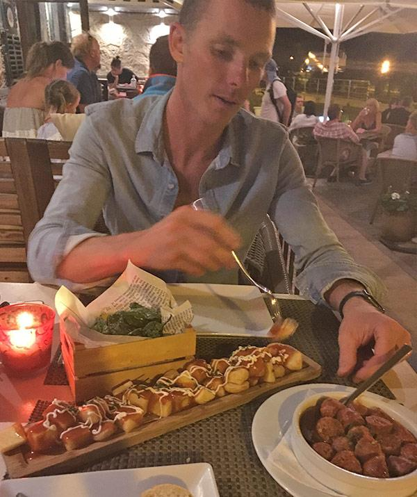 Concentration is key when trying to get through an entire tray of patatas bravas