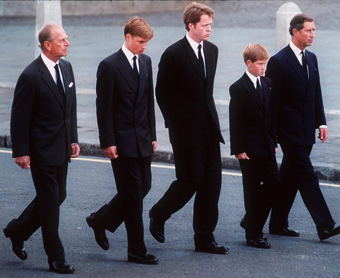 Princes Charles, William, Harry and Phillip follow Princess Diana's casket, along with Diana's brother, Charles Spencer.