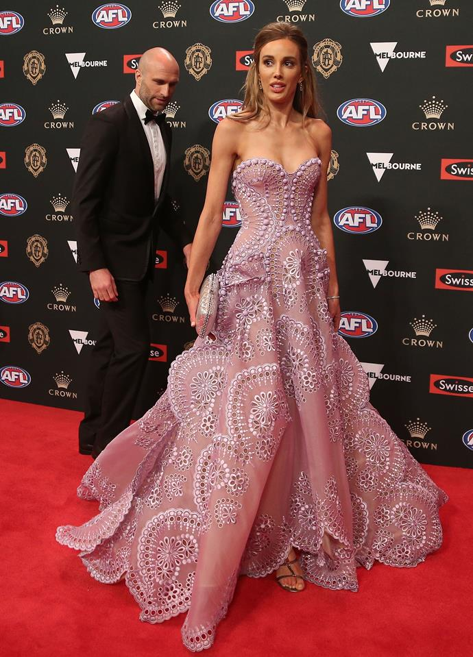 Bec Judd never disappoints when it comes to red carpet events. The mum of four looks incredible in this J'Aton Couture gown - just look at how much Chris approves!