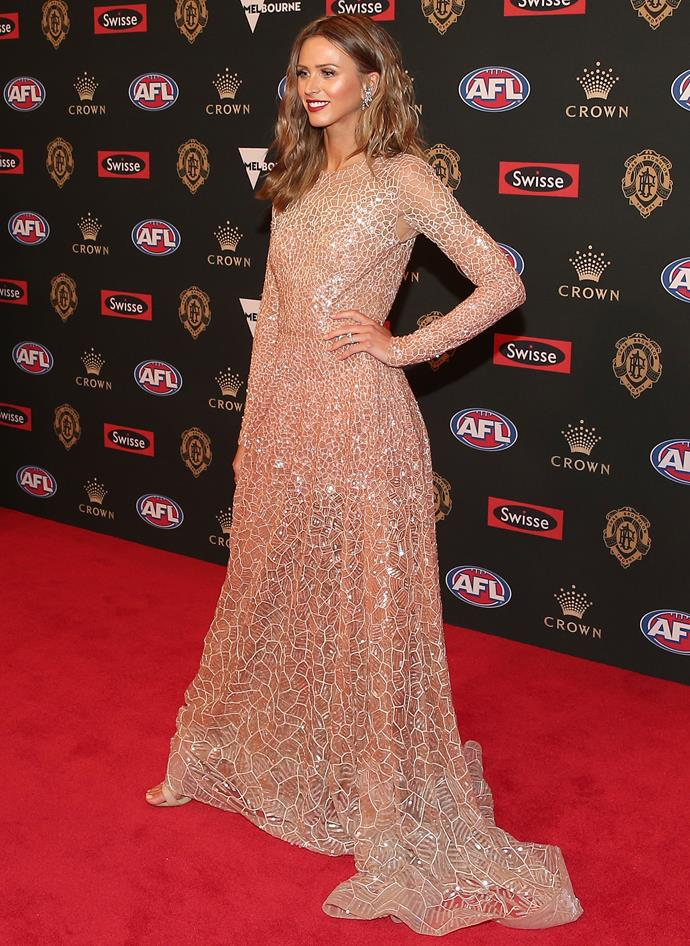Brit Davis, partner of the Cats' Joel Selwood, absolutely stuns in this Paolo Sebastian gown. She wins our vote for the night's best dressed.