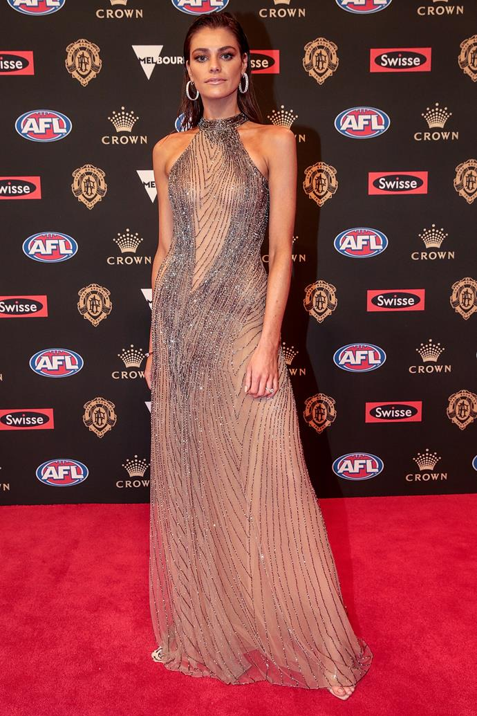 Charlotte Ennels, partner of the Demons' Jack Viney looks incredible in Melbourne bridal designer Oglia-Loro.