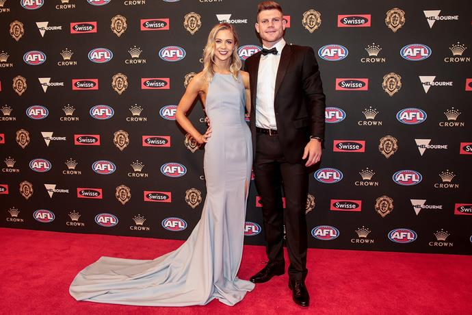 Ellie Thornycroft's pastel number is simple, yet stunning. Her and partner Taylor Adams of the Magpies were all smiles.